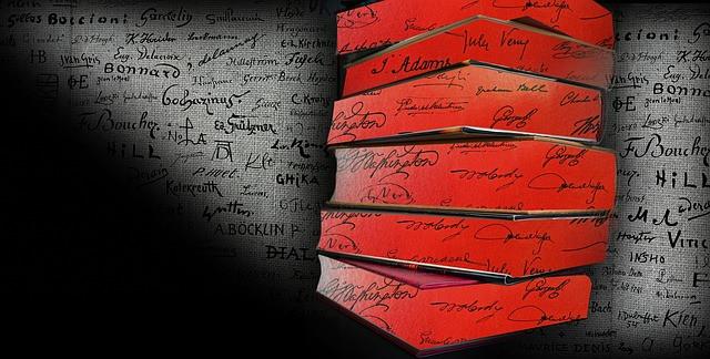 6 silhouettes de livres rouges sur fond de page écrite noir sur blanc