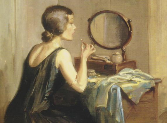 Peinture représentant une jeune femme devant sa coiffeuse