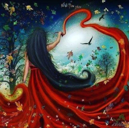 Féérie d'une femme en robe rouge