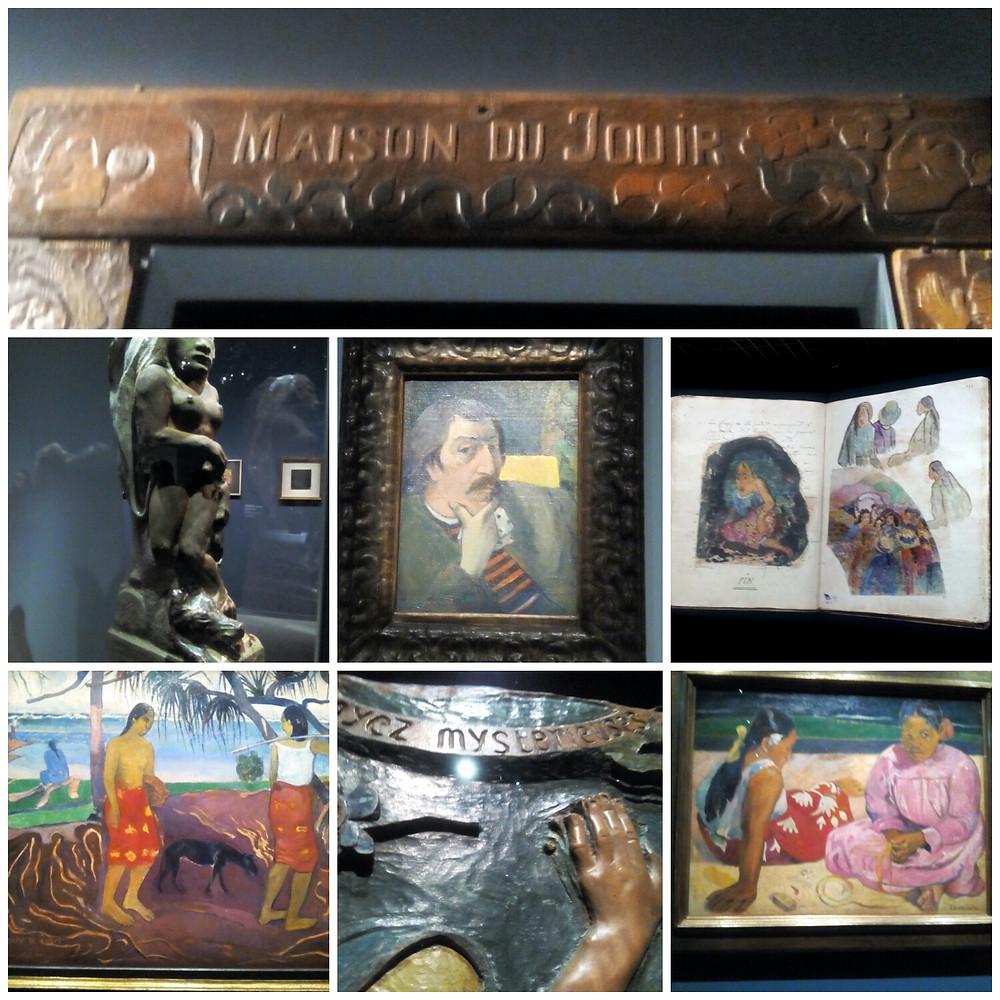 Collage de photos d'œuvres de Gauguin prises pour acoupdelles