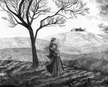 Gravure en noir et blanc représentant les deux amants debout au pied d'un arbre, regardant la lande