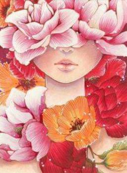 Visage d'enfant masqué par des fleurs roses oranges et rouges