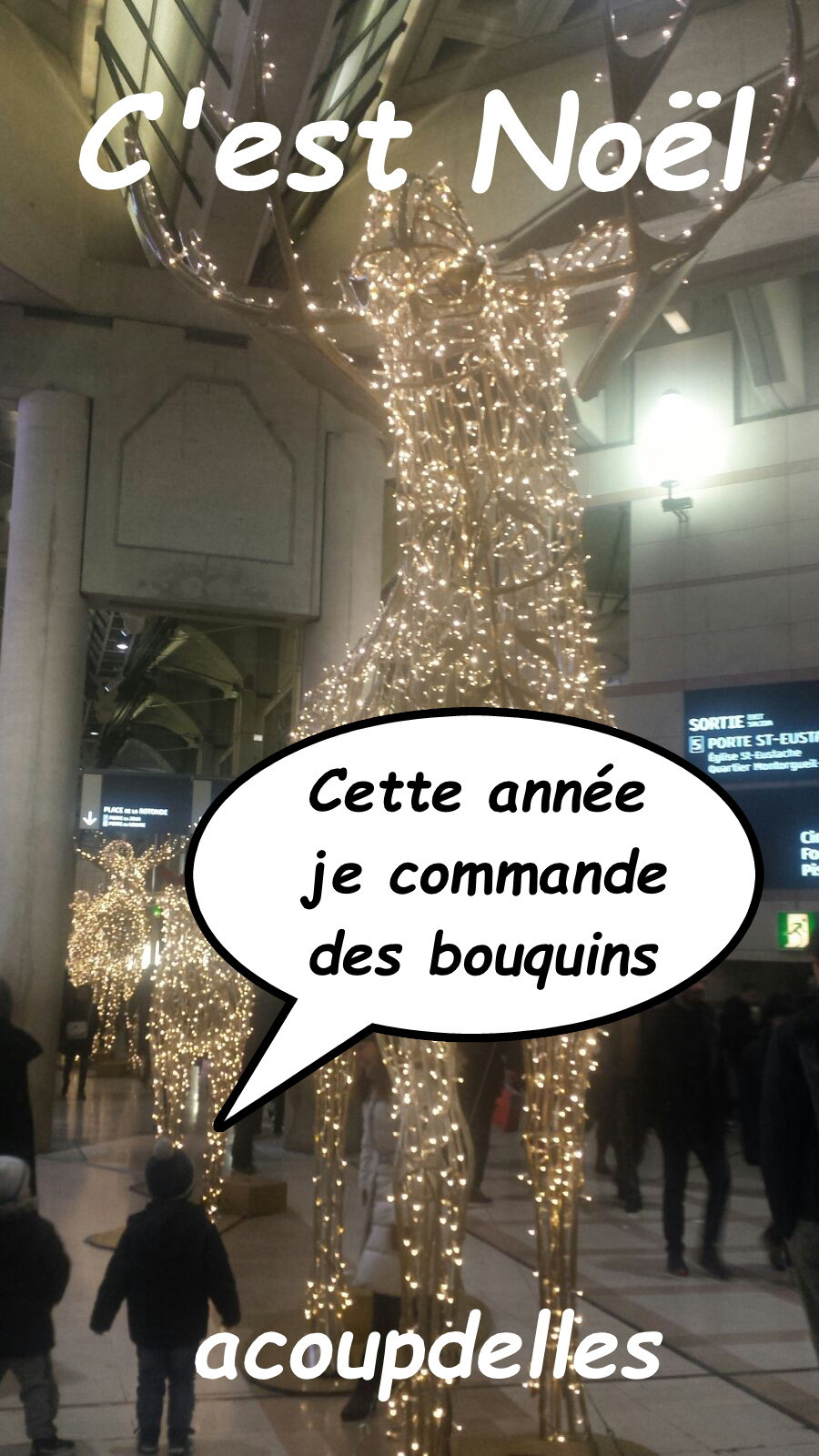 Le renne illuminé du forum des halles à Paris