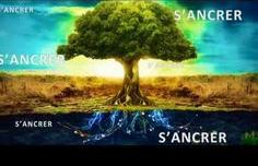 """arbre accompagné du mot """"s'ancrer"""" écrit  5 fois"""