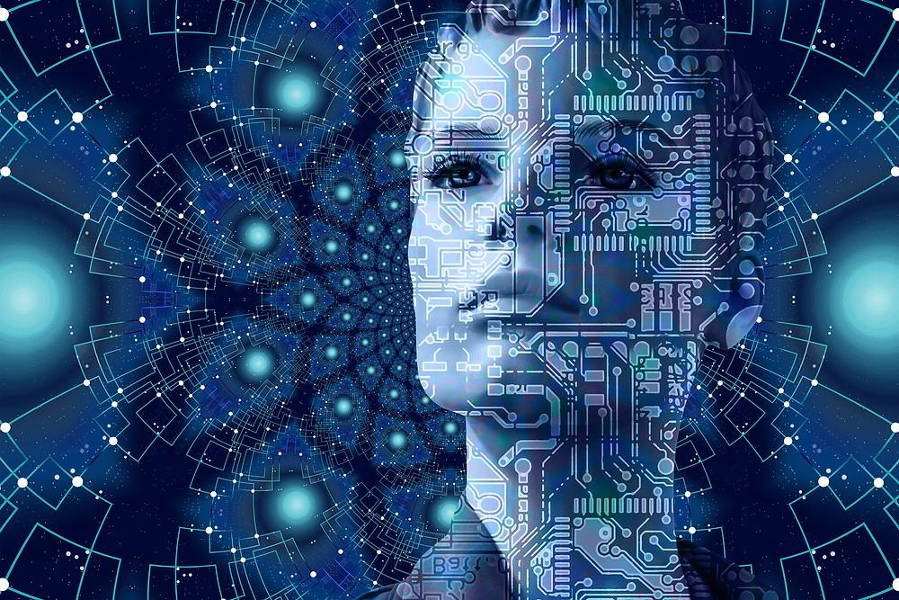 Visage de femme maillé de lignes connexions informatiques