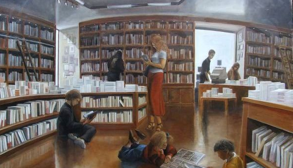Reproduction d'une huile sur toile représentant l'intérieur d'une librairie