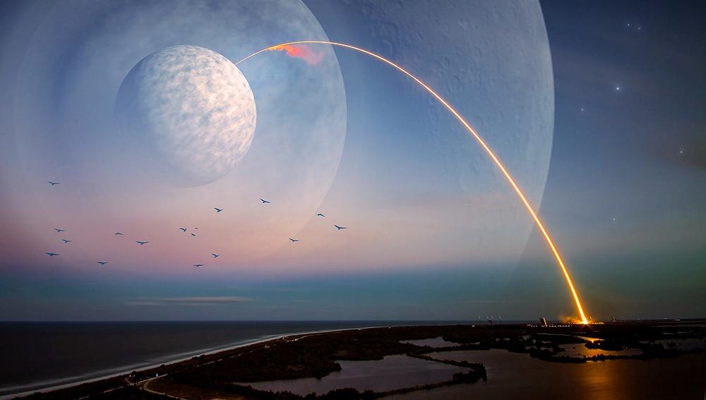 Un rayon lumineux part de la mer pour atteindre la Lune