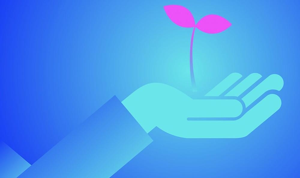 Une main ouverte, une fleur pousse dans la paume