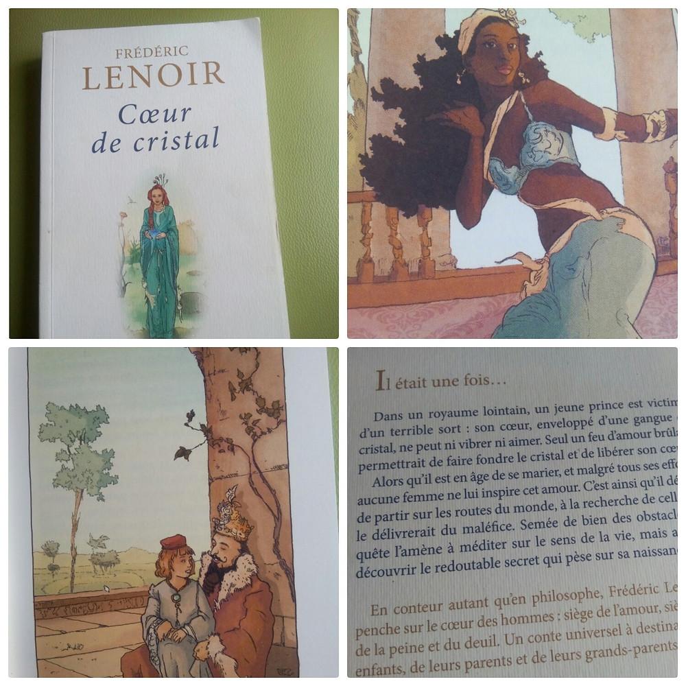 Collage d'extraits et d'illustrations du livre Cœur de cristal de Frédéric Lenoir