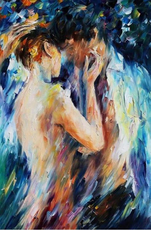 Un tableau représentant un homme et une femme face à face