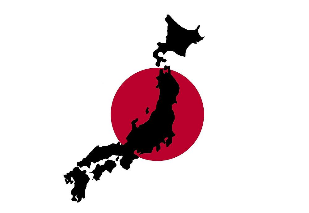 carte du Japon sur cercle rouge