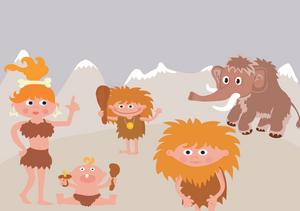 Une famille préhistorique en style cartoon
