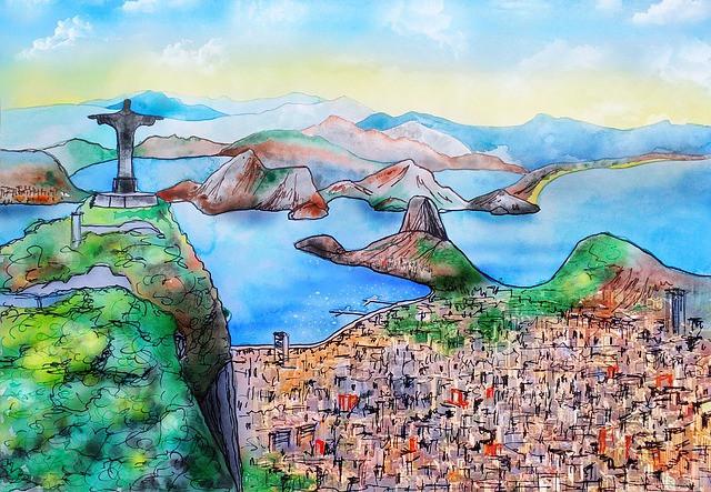 Représentation dessinée de la baie de Rio de Janeiro