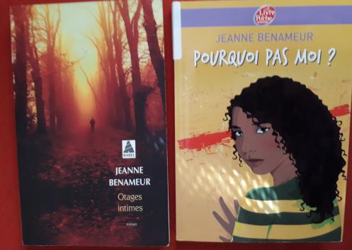Couvertures de deux romans de Jeanne Benameur: Otages intimes et Pourquoi pas moi?