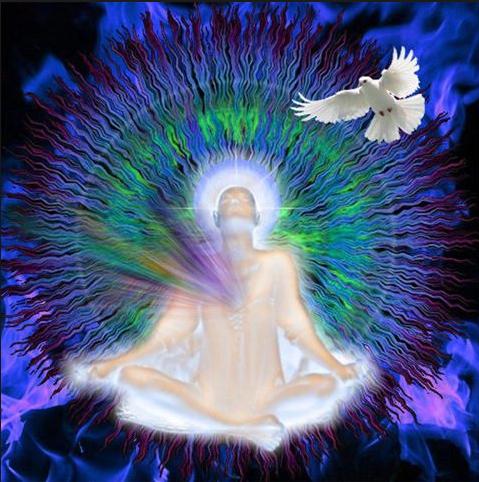 personnage assis en tailleur, la lumière part de son centre, une colombe vole au-dessus de lui