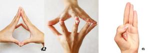 Deux positions de mains en mudras