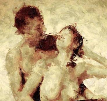 Extrait d'un tableau représentant deux amants