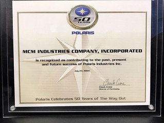 MCM receives Supplier Award from Polaris, Industries