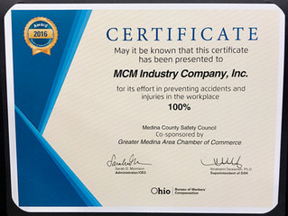 MCM Receives Safety Award for 2016