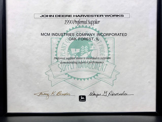MCM - Preferred Supplier Award - John Deere Harvester Works