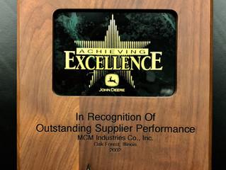 MCM - Outstanding Supplier Award from John Deere - Seeding Group