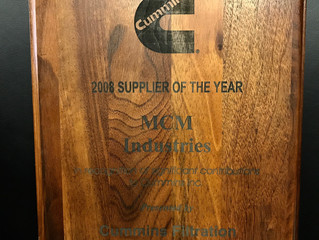 Cummins Filtration Inc., presents MCM Industries with Supplier of the Year