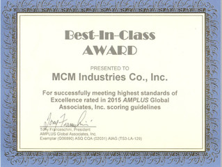 MCM Industries receives Best-In-Class Award