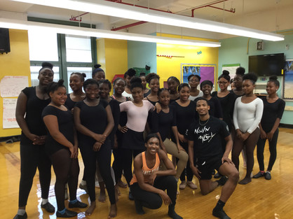 Location: East Flatbush, Brooklyn, NY  Sponsor: Ailey II; NY City Center Outreach; IS 285/The Meyer Levin School For the Performing Arts Class Type: Horton-based Modern  Age: 8th grade