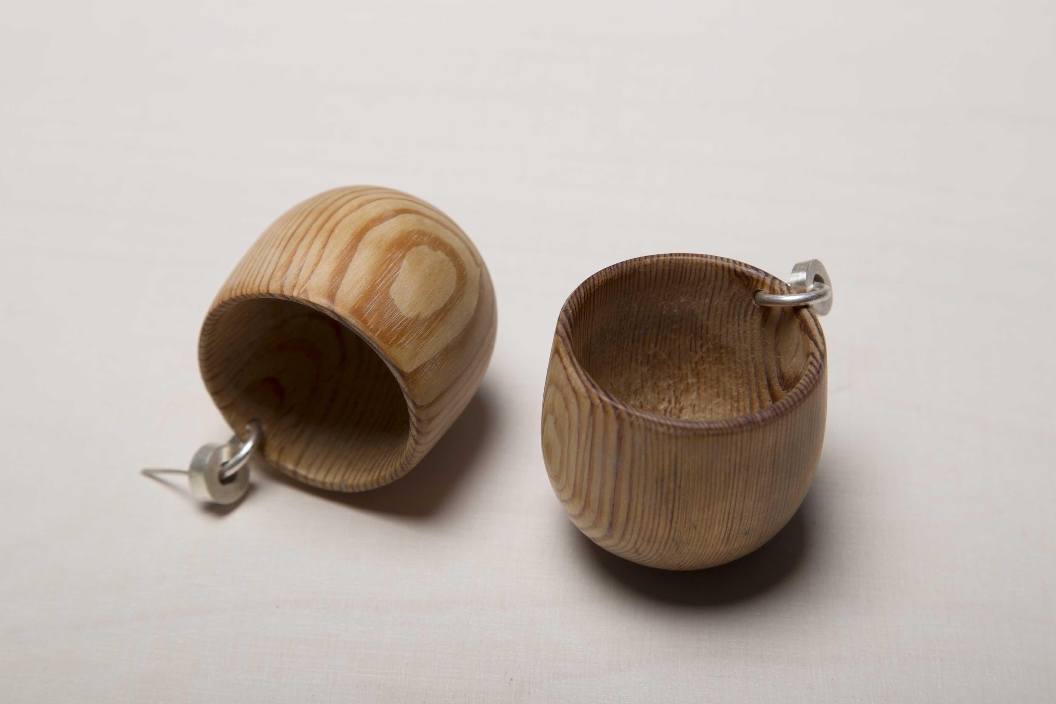 Wooden cup earrings