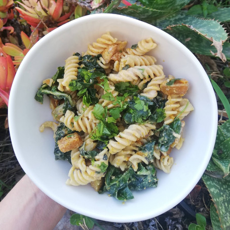 Creamy Vegan Roast Pumpkin & Spinach Pasta