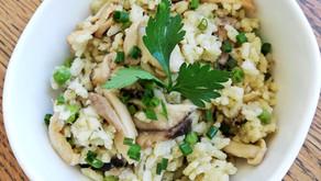 Mushroom & pea risotto (low FODMAP)