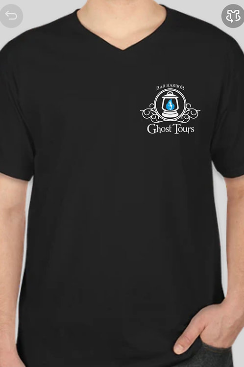 V Neck T-shirt with Ghost List