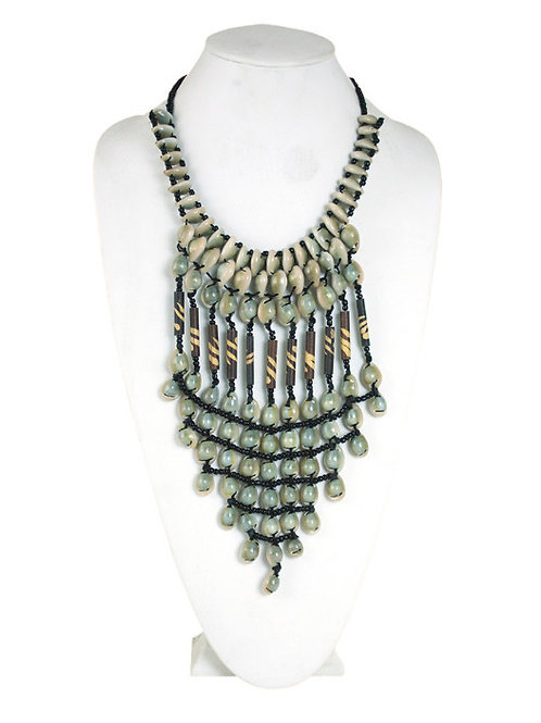 Cowrie & Glass Bead Statement Necklace