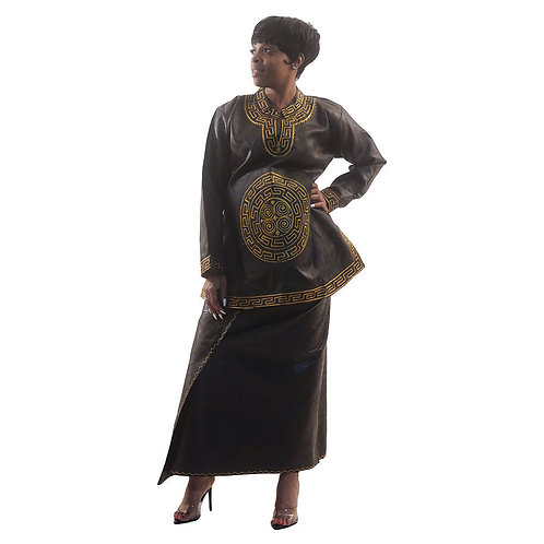 Black Brocade Wrap Skirt Set