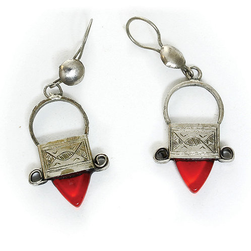 Tuareg Silver Earrings -Red Jewel