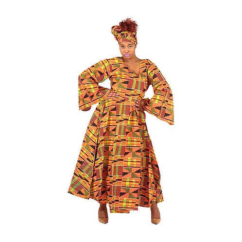 Traditional Print Wrap Dress