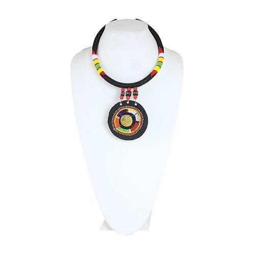 Maasai Bead/Leather Pendant Necklace