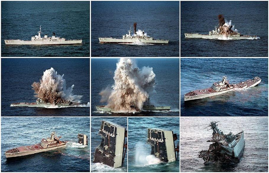 Secuencia del hundimiento de un barco por el impacto de un torpedo