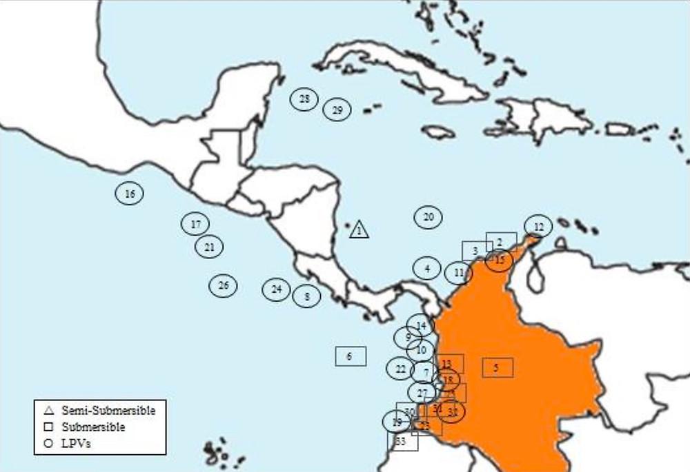 Mapa de las interdicciones narcosubmarinos 1993-2013