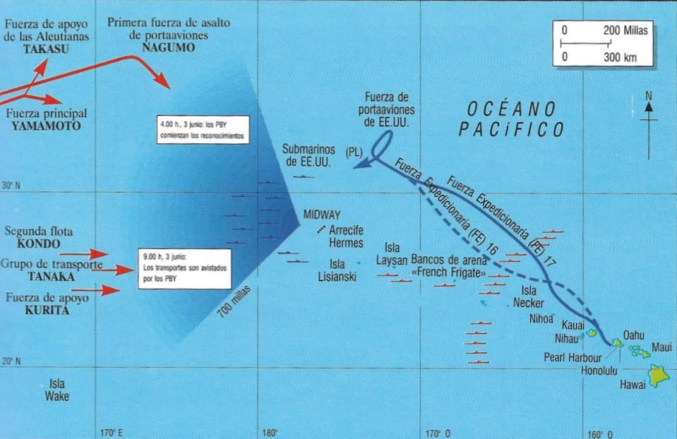 Aproximación de las flotas japonesa y estadounidense a Midway en la Segunda Guerra Mundial