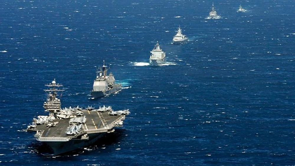 Grupo de combate de portaaviones estadounidenes. Destrucor, crucero, submarino, AEGIS, Arleigh Burke, Ticonderoga, Nimitz.