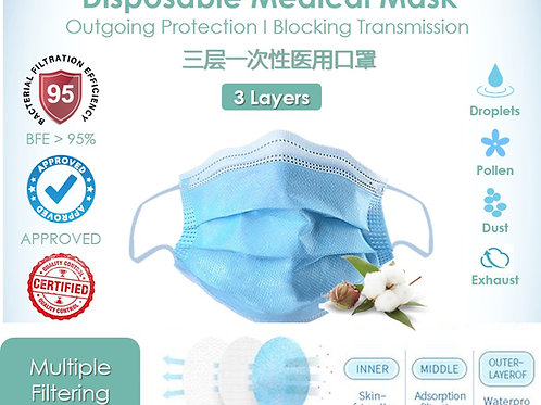 Disposable Medical Mask   95% BFE   Premium Quality