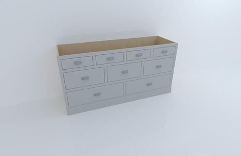 1800mm 9 Drawer Cabinet