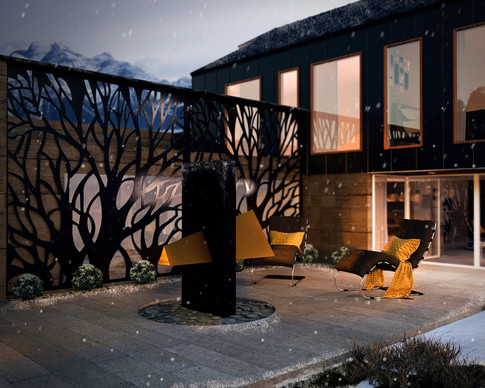 Ski Lodge Outdoor Fireplace