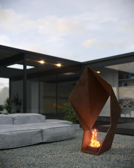 Iron Origami Firepit at dusk