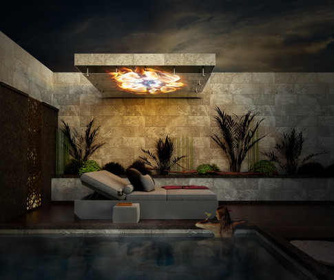 Canopy fire over pool bed