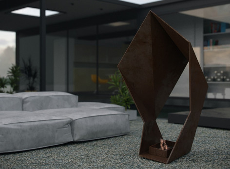 Iron Origami sculpture fire pit