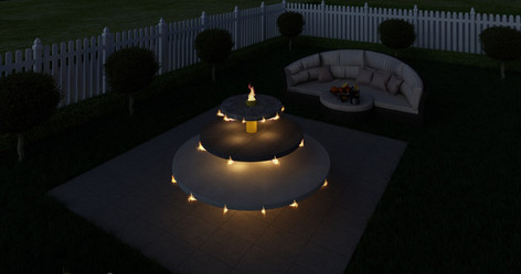 Centrepiece fire sculpture and outdoor couch