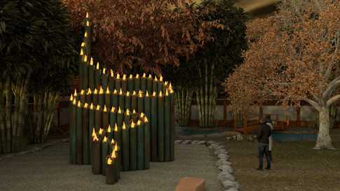 Bamboo inspired Fire Feature