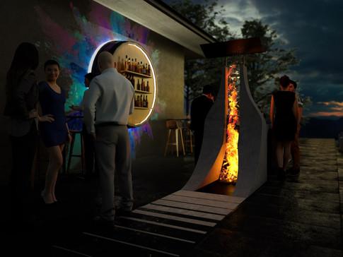 Outdoor bar fire